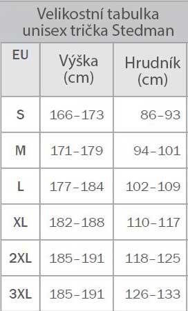 Velikostní tabulka univerzálních bílých triček
